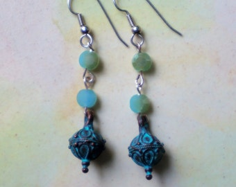 Verdigris Earrings with Aqua Gemstones