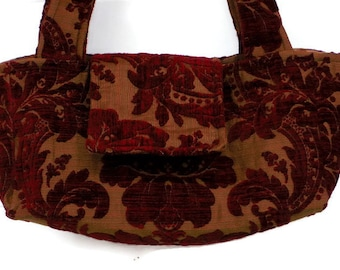 Boho Bag Purse Burgundy Cut Chenille