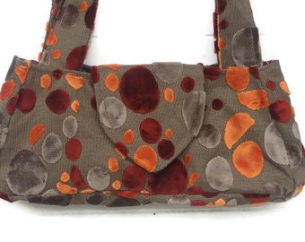 Cut Velvet Handbag Orange Grey Gray Rust