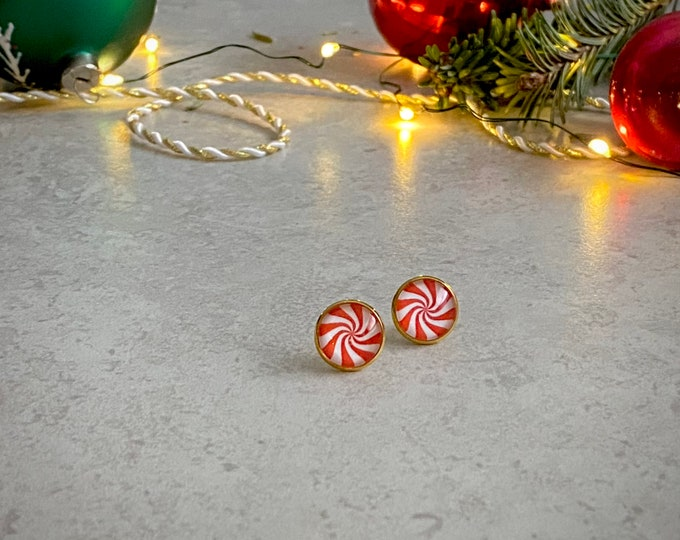 Christmas, Candy, Mint, Earrings, Gold, Holiday, Stud Earring, Studs, Gift Ideas, Accessories, Stainless Steel, Hypoallergenic