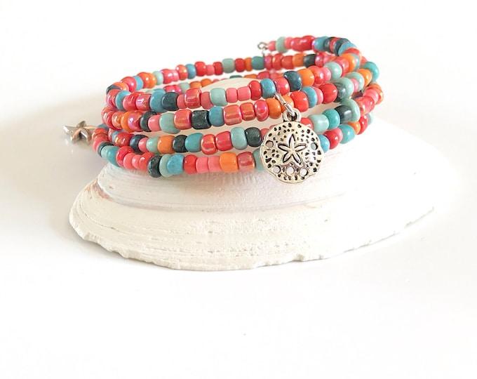 Memory Wire Bracelet - Silver - Wrap Bracelet - Pink - Blue - Beaded Bracelet - Stackable Bracelet - Seed Beads - Bracelet - Sand Dollar