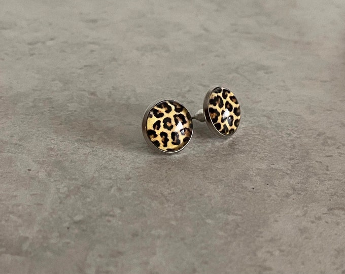 Leopard Stud, Earrings, Jewelry, Glass, Drop Earrings, Pattern, Snake, Animal Print, Gifts for Her, Birthday Gift, In the Wild
