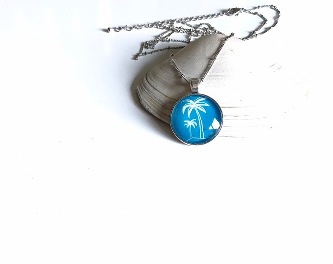 Palm Tree and Beach Pendant Necklace in Blue and White