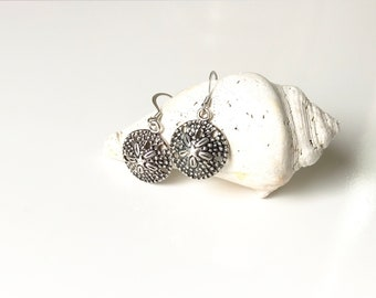 Silver, Sand Dollar, Nautical, Beach, Dangle, Earrings, Jewelry, Gifts