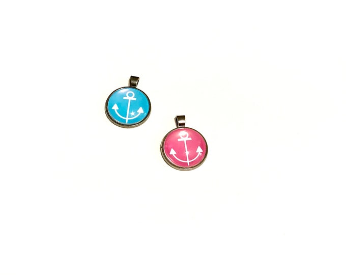 Wholesale - Anchor - Pendants - 4 Gunmetal Necklaces - Pink - Aqua - Blue