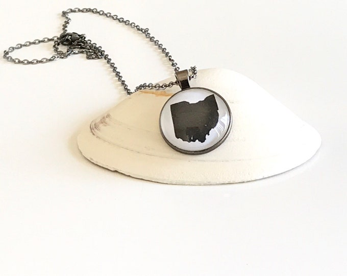 Ohio, Glass, Pendant, State, Jewelry, Gifts for Her, Home, Necklace, Gifts, Ohio Gifts, Gunmetal Gray,