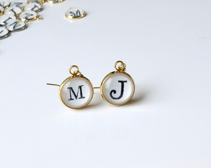 Personalized, Earring, Mix and Match, Initial, Letters, Gold, 14k Gold Plated, Dangle Earrings, Gifts for Her, Accessories, Stainless Steel