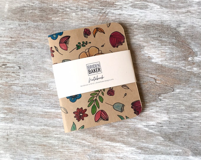 Notebook, Kraft, Blank, Flower, Floral, Journal, Art, Gift Ideas, Pattern, Cardstock, Handmade, Paper