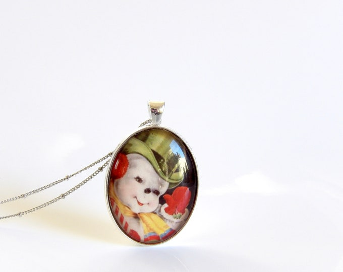 Vintage, Snowman, Winter, Necklace, Jewelry, Holidays, Pendant, Christmas Party, Christmas, Holiday Party, Vintage Snowman