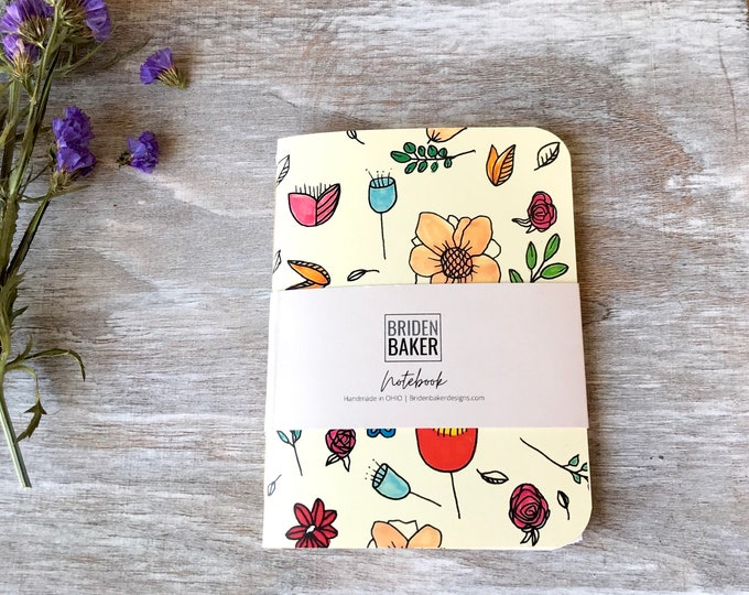 Notebook, Blank, Flower, Floral, Journal, Art, Gift Ideas, Pattern, Cardstock, Handmade, Paper