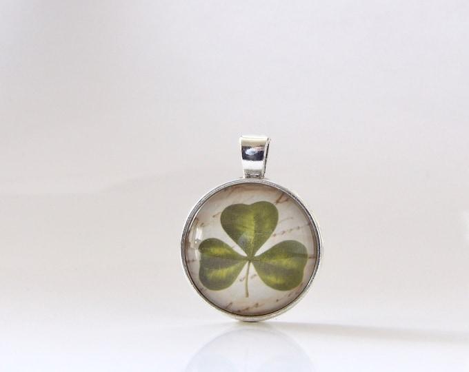 Shamrock, St. Patrick's Day, Necklace, Pendant, Glass, Jewelry, Good Luck, Parade, Gift Idea, St. Patty, Irish, Stacking, Layering