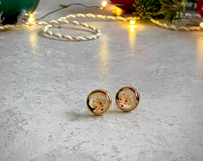 Christmas, Santa, Earrings, Gold, Holiday, Stud Earring, Studs, Gift Ideas, Accessories, Stainless Steel, Hypoallergenic