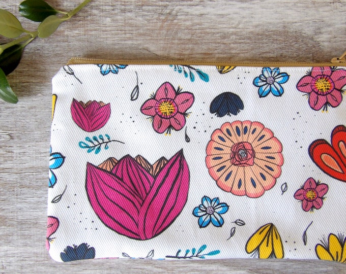 Floral, Zipper Pouch, Pencil Pouch, Makeup bag, Flowers, Botanical, Travel, Zipper Bag, Floral Pattern