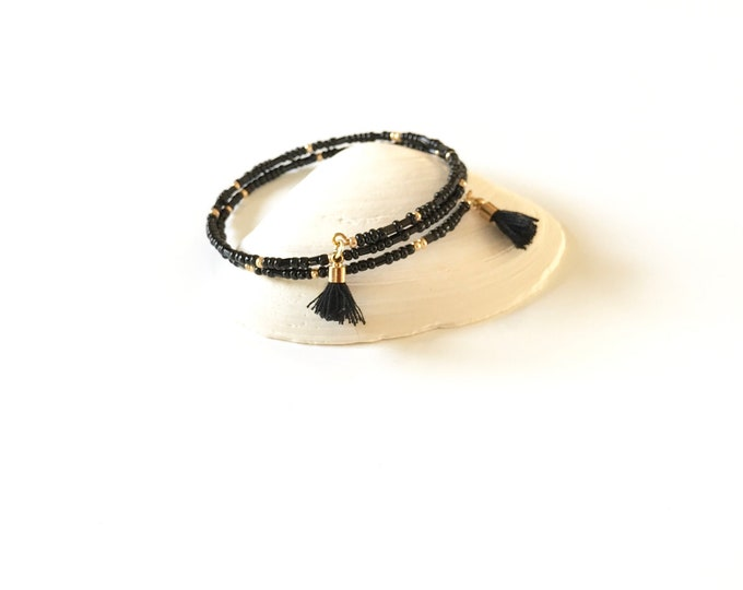 Memory Wire Bracelet - Wrap Bracelet - Gold - Tassels - Seed Beads - Gold Bracelet - Black - Stackable - Wrap Bracelet - Gifts