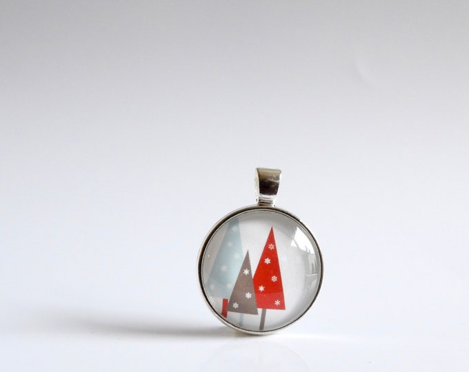 Winter, Trees, Christmas, Pendant, Necklace, Glass, Holiday Party, Christmas Tree, Holiday, jewelry, Christmas tie, gifts