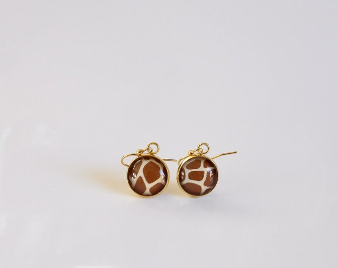 Gold, Giraffe, Pattern, Earrings, Glass, Stainless Steel, Dangle Earrings, Accessories, Gifts for her, Birthday Gifts, In the Wild