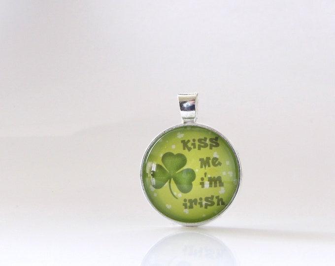 Irish, St. Patrick's Day, Necklace, Pendant, Glass, Jewelry, Party, Gift Idea, St. Patty, Kiss Me I'm Irish, Stacking, Layering