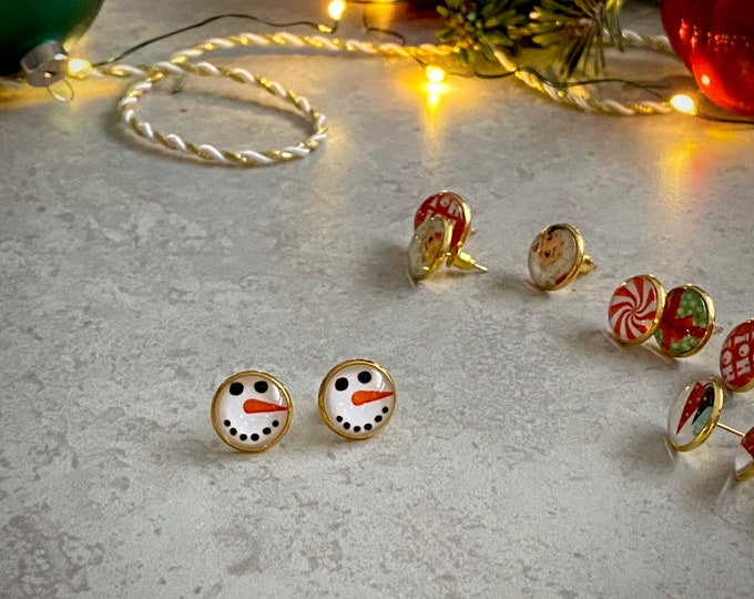 Christmas, Snowman, Earrings, Gold, Holiday, Stud Earring, Studs, Gift Ideas, Accessories, Stainless Steel, Hypoallergenic