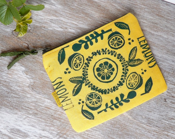 Lemon, Zipper Wallet, Foliage, Coin Purse, Cute, Yellow, Hand-Stamped, handcrafted, Block Printing,