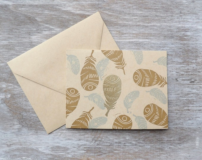 Feathers, Blank Cards, Gold, Gift, Thank You Cards, Set of Blank Cards, Occasions, Art, Stamped, Handmade, Special Occasion