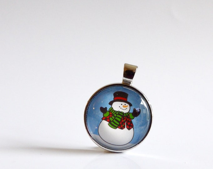 Snowman, Winter, Holiday, Pendant, Glass, Necklace, Christmas, Holiday Party, Celebration, Cord Chain