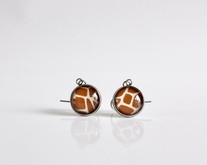 Giraffe, Dangle Earrings, Glass, Jewelry, Giraffe Pattern, Stainless Steel, Drop Earrings, Hypoallergenic, In the Wild