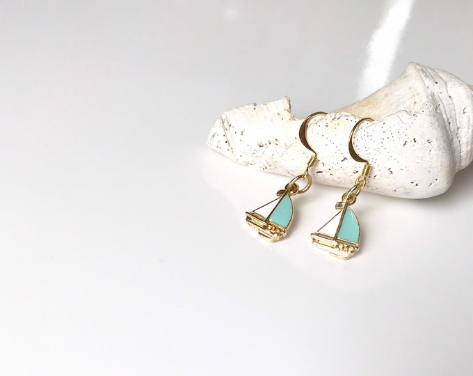 Sailboat Nautical Dangle  Earrings in Gold and Blue