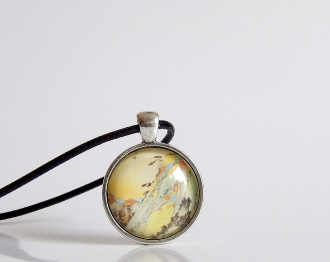 Vintage, Japanese, Pendant, Necklace, Hokusai, Rocky Mountain Seen by the Water, Art, Glass, Jewelry, Gifts for Her, Old Photos, Japan Art