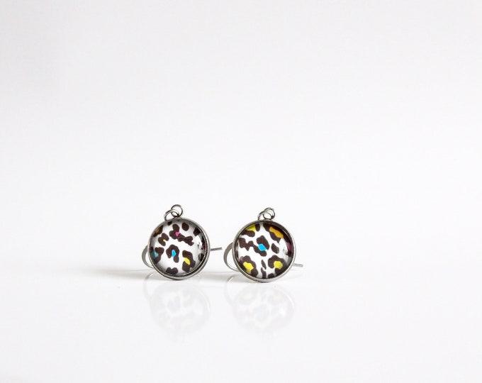 Rainbow, Leopard , Pattern, Dangle earrings, Jewelry, Gifts, Leopard Design, Colorful, Drop, Earrings, Fun, Birthday Gift, In the Wild