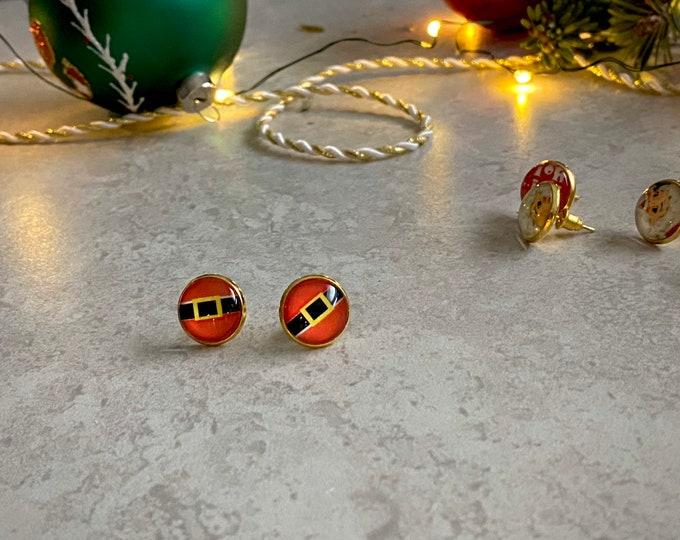 Christmas, Santa's Belt, Earrings, Gold, Santa, Holiday, Stud Earring, Studs, Gift Ideas, Accessories, Stainless Steel, Hypoallergenic