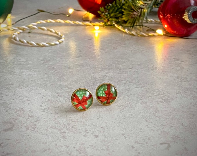 Christmas, Present, Earrings, Gold, Santa, Red Bow, Holiday, Stud Earring, Studs, Gift Ideas, Accessories, Stainless Steel, Hypoallergenic