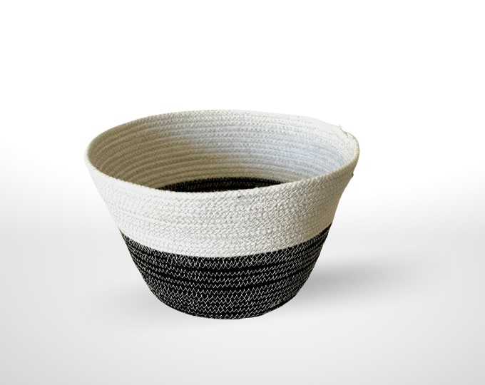 Featured listing image: Black, Natural, Rope, Basket, Bowl, Home Decor, Storage, Cotton, Rope Bowl, Rope Basket, Home