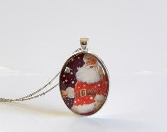 "Vintage Santa, Oval, Pendant, Necklace, Vintage, Santa, Christmas, 30"" Chain, Christmas Party, Holiday Party, Santa Claus"