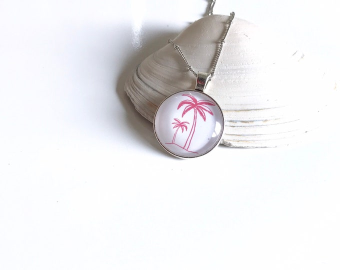 Palm Trees and Beach Pendant Necklace in Pink and White