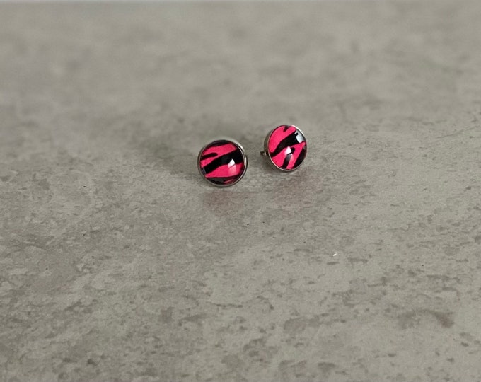 Hot Pink, Tiger, Stud, Earrings, Jewelry, Glass, Pattern, Drop Earrings, Pattern, Animal Print, Gifts for Her, Birthday Gift, In the Wild
