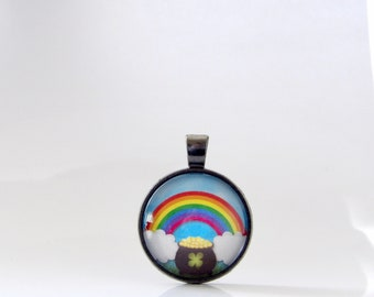 Rainbow, St. Patrick's Day, Necklace, Pendant, Pot of Gold, Lucky, Good Luck, Parade, Gift, Ireland, St. Patty, Irish, Stacking, Layering,