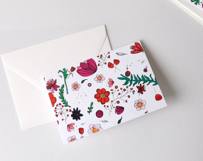 Flowers, Foliage, Blank Cards, Thank You, Florals, Botanical, Spring, Gift, Thank You Cards, Occasions, Handmade, Special Occasion