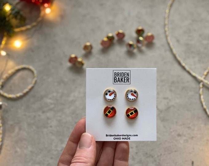 Christmas, Gift Set, 2 Pack, Earrings, Gold, Stud Earring, Studs, Gift Ideas, Accessories, Stainless Steel, Hypoallergenic