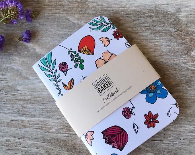 Notebook, White, Blank, Flower, Floral, Journal, Art, Gift Ideas, Pattern, Cardstock, Handmade, Paper