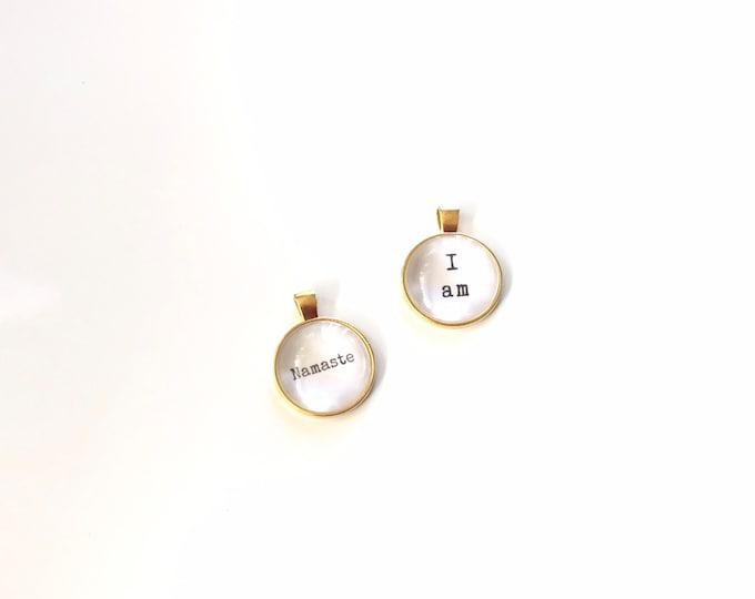 wholesale - yoga Pendant - 4 Gold Pendants - Jewelry - Namaste - I am