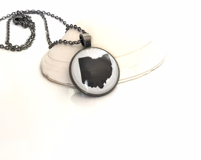 State of Ohio Glass and Resin Pendant Necklace in Gunmetal Gray