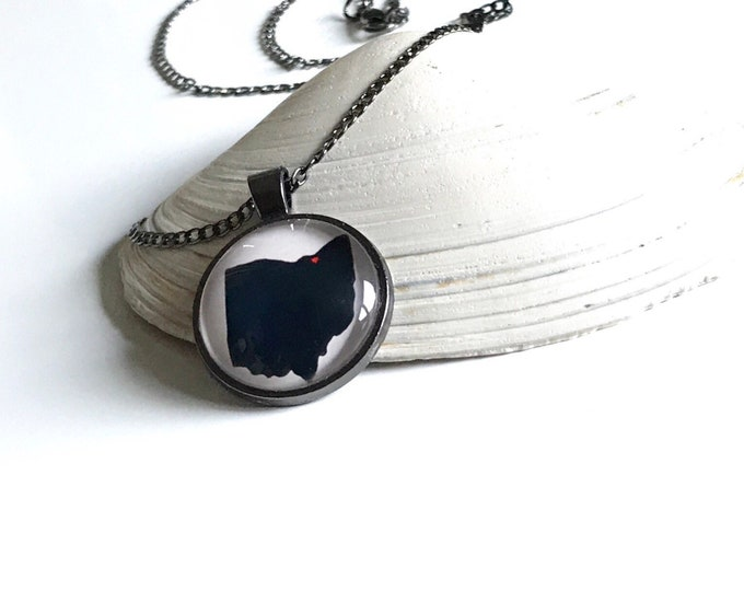 Heart Over Cleveland Ohio Pendant Necklace