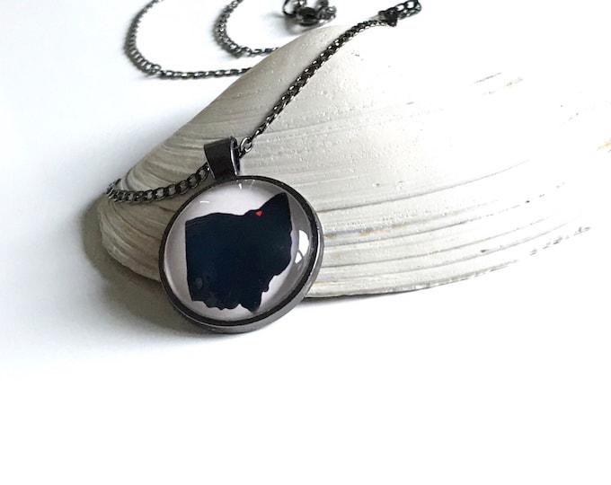 Heart Over Cleveland Ohio Pendant Necklace