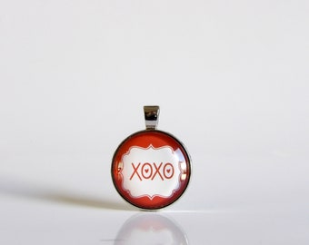 Valentine's Day, Red, XOXO, Love, Letter, Necklace, Silver, Pendant, Glass, Jewelry,Party, Gift Idea, Love, Valentine