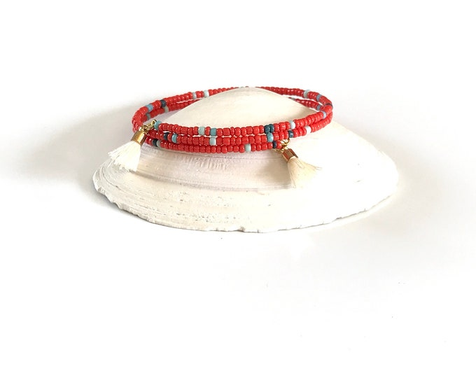 Memory Wire Bracelet - Wrap Bracelet - Gold - Tassels - Seed Beads - Stackable Bracelet - Red - Blue - Stackable - Wrap Bracelet - Jewelry