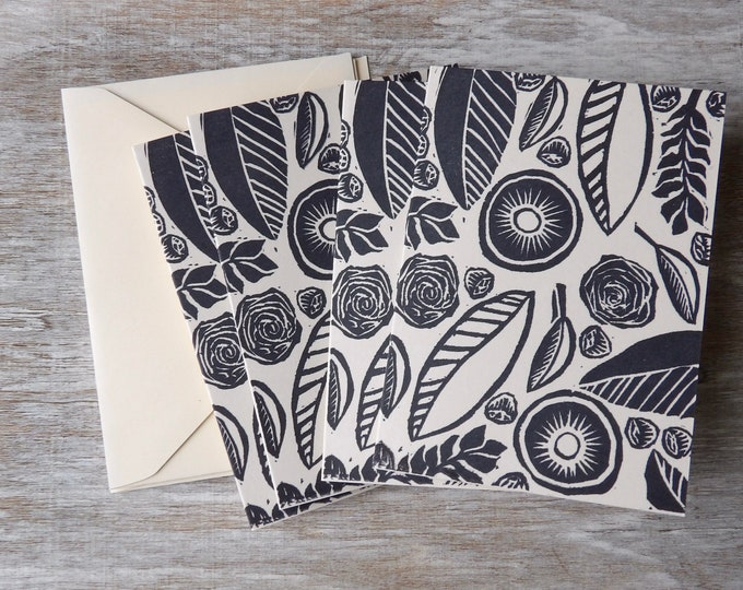 Floral, Blank Cards, Flower Pattern, Botanical, Thank You Cards, Set of Blank Cards, Occasions, Art, Stamped, Handmade, Special Occasion