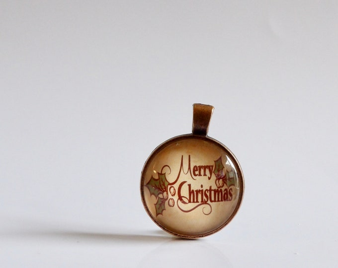 Merry Christmas, Holiday, Necklace, Pendant, Glass, Jewelry, Black Cord, Holiday Jewelry, Christmas Party, Accessories