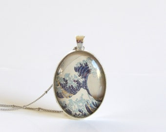 Vintage, Japanese, Art, The Great Wave, Hokusai, Glass, Pendant, Jewelry, Ocean, Bezel, Necklace, Gifts for Her, Old Photos, Japan Art