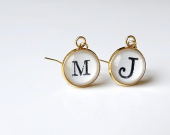 Personalized, Earrings, Initial, Letters, Gold, 14k Gold Plated, Handcrafted, Dangle Earring, Gifts for Her, Accessories, Stainless Steel