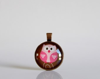 Valentine's Day, Owl, Love, Necklace, Copper, Pendant, Glass, Jewelry, Party, Gift Idea, Hearts, Valentine
